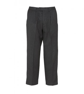 Putney Pleated Boys Grey Trousers
