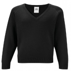 Black V-Neck Knitted Sweater Chest Sizes 26-32""